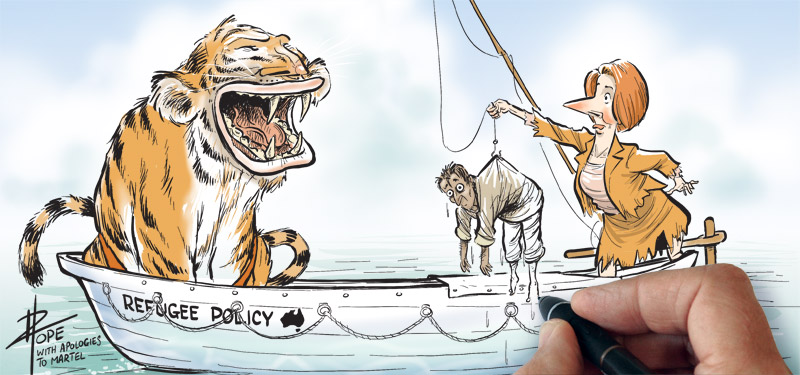 A cartoon on Australia's refugee policy debate in the process of being drawn