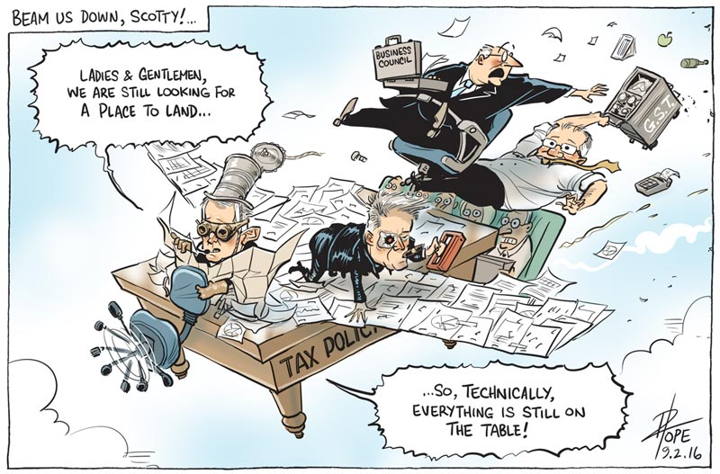 Cartoon of the government's tax reform process