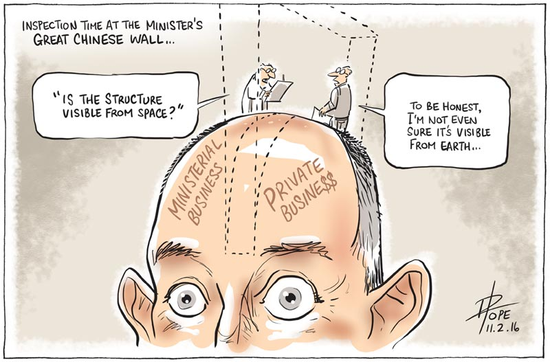 Cartoon of Stuart Robert, Minister for Human Services