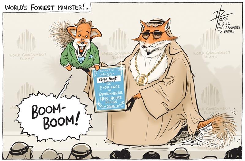 Cartoon of Greg Hunt receiving an award for World's Best Minister