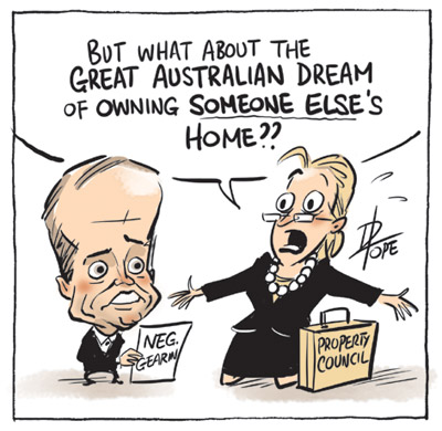 Cartoon: Property Council worried about changes to negative gearing