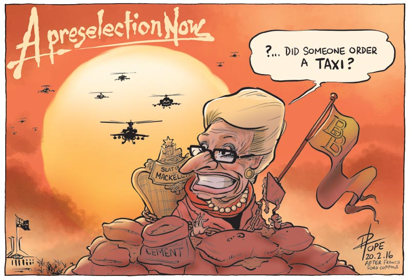Cartoon: preselection heats up for Bronwyn Bishop's seat of Mackellar