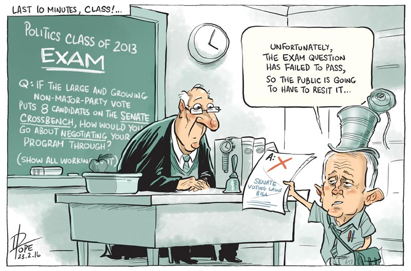 Cartoon: government proposes changes to the Senate voting system