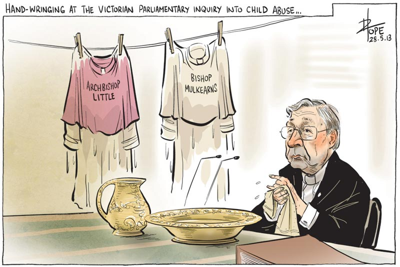Cartoon: George Pell at the Victorian Parliamentary Inquiry