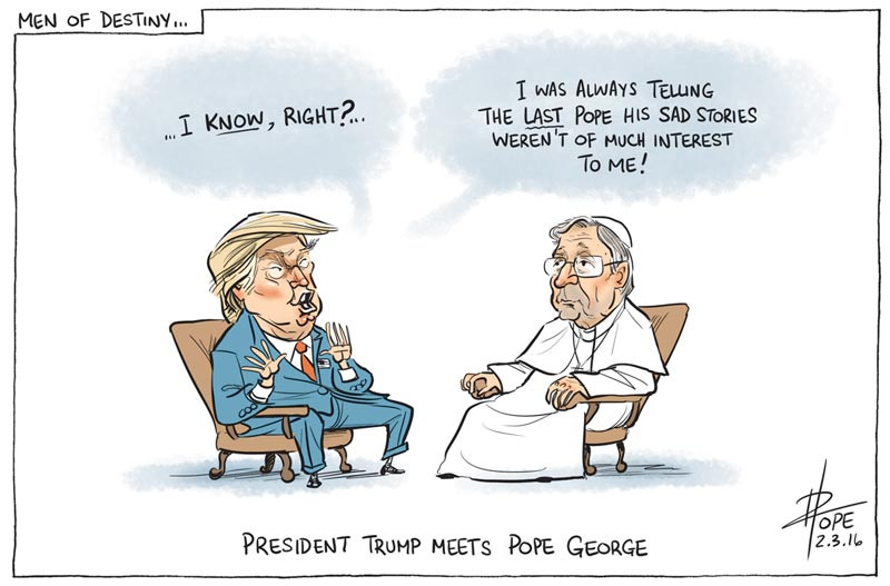 Cartoon: President Trump meets Pope George Pell