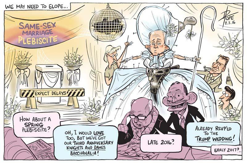 Cartoon: the government's same sex marriage plebiscite timetable