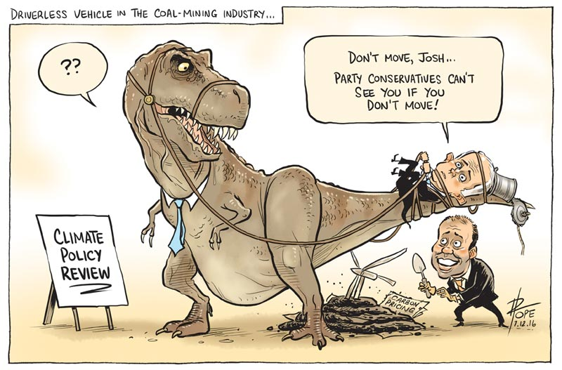 Cartoon: the government backbench baulks at the climate policy review