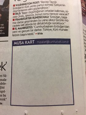 Photo: blank cartoon panel, following the arrest of Turkish cartoonist Musa Kart