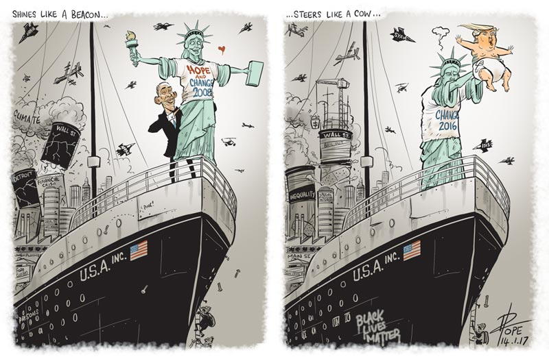 Cartoon: the ship of state (the end of the Obama era)