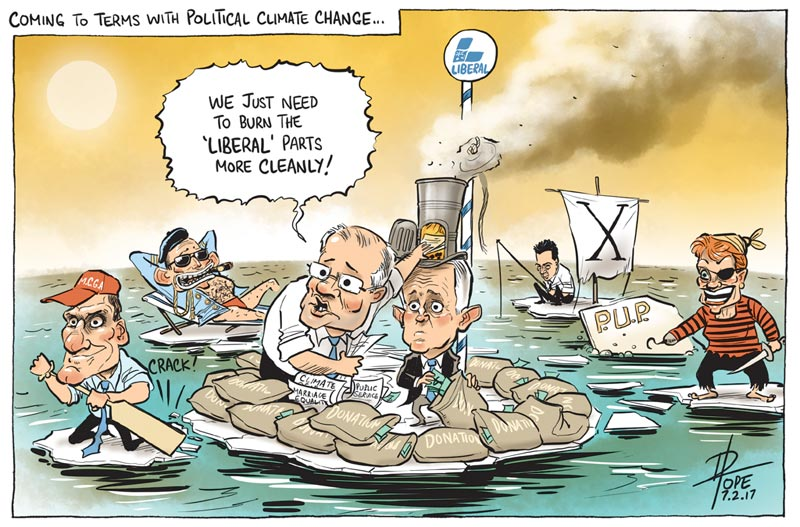 Cartoon: political climate change affecting the Liberal Party
