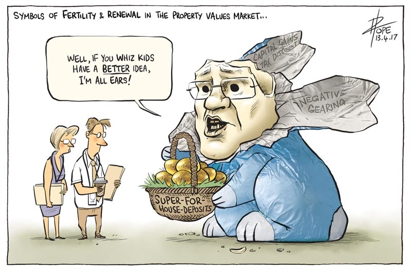 Cartoon: the Treasurer's Easter gift to young home buyers