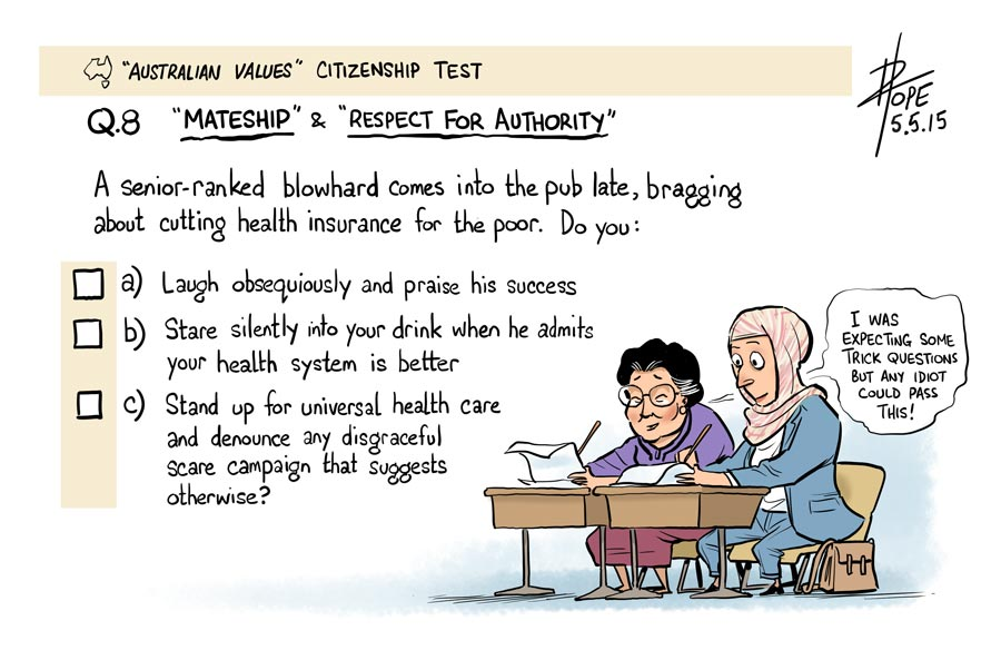 Cartoon: Australian values test
