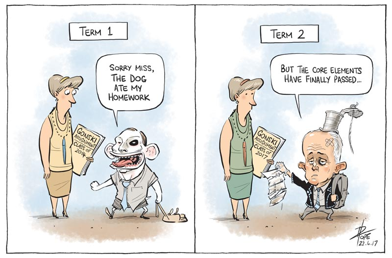 Cartoon: passing the Gonski schools funding model