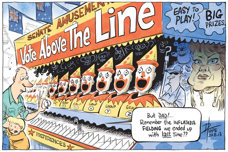 Cartoon: Above-the-line voting for the Senate