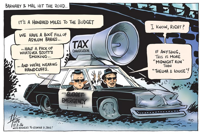 Cartoon of Turnbull and Joyce as Jake and Elwood