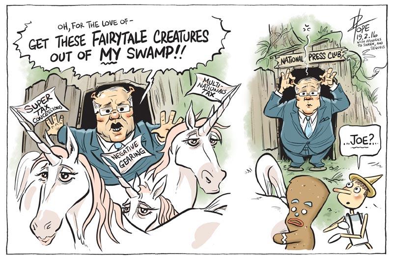 Cartoon: Treasurer calls Labor tax policy a unicorn