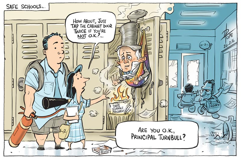Cartoon: the government reviews the Safe Schools Program