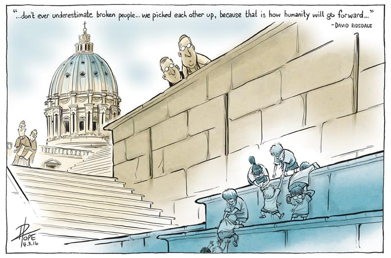 Cartoon: the long road to Rome for abuse survivors