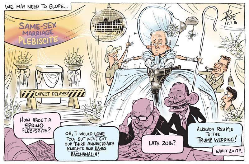 Cartoon: the government's same sex marriage plebiscite timetable