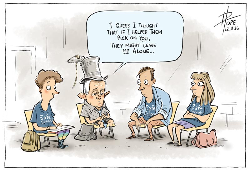 Cartoon: Turnbull caves to right wing pressure to review the Safe Schools Program