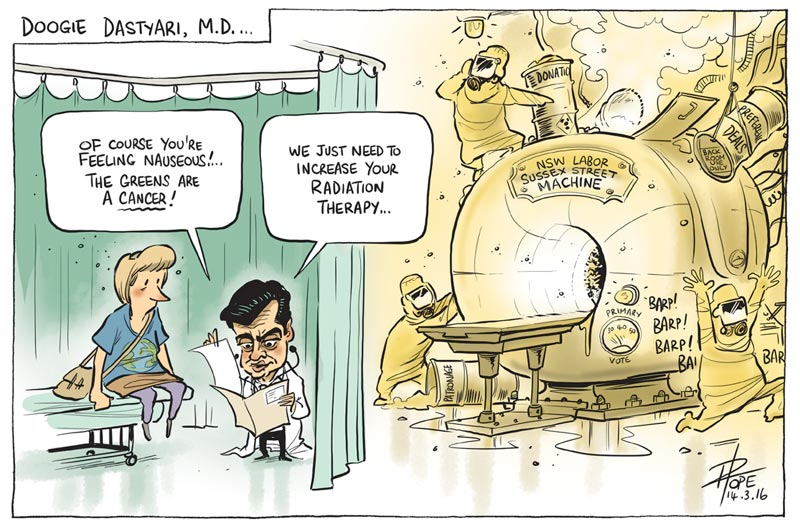 Cartoon: Senator Sam Dastyari launches an attack on the Greens
