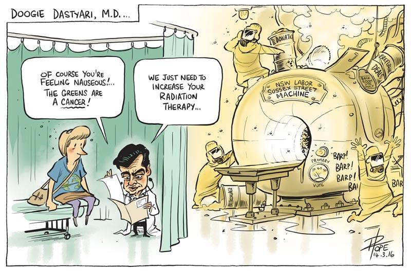 Cartoon: Senator Sam Dastyari launches an attack on the Greens