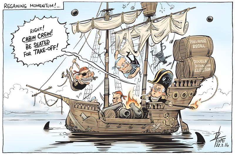 Cartoon: Turnbull prepares a Double Dissolution election