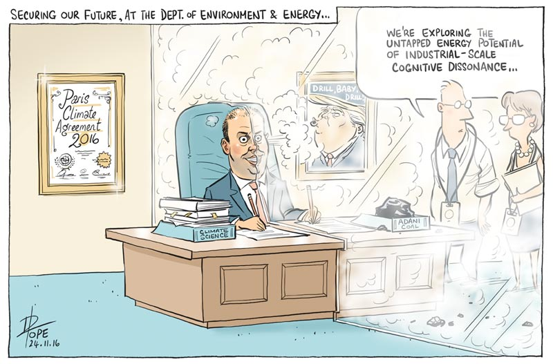 Cartoon: the Minister for the Environment and Energy