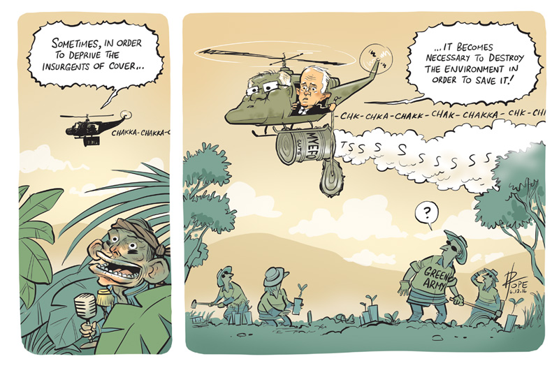 Cartoon: Malcolm Turnbull kills off Tony Abbott's Green Army