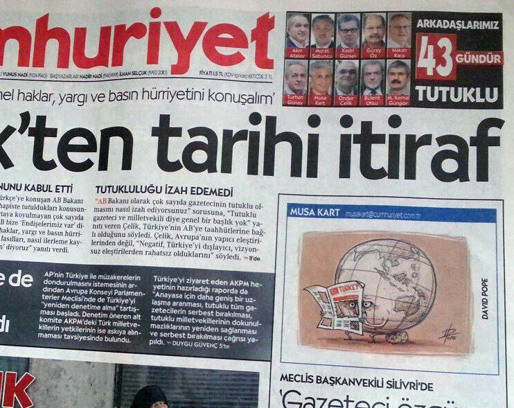 Photo: front page of Turkish newspaper, Cumhuriyet