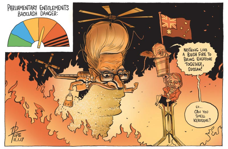 Cartoon: Bronwyn Bishop blames socialists for media scrutiny of politicians entitlements