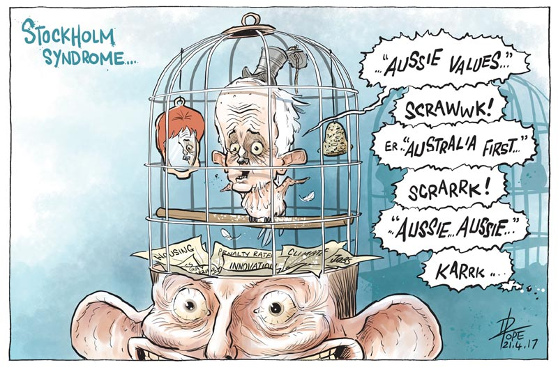 "Cartoon: Malcolm Turnbull squawking about ""Australian values"""