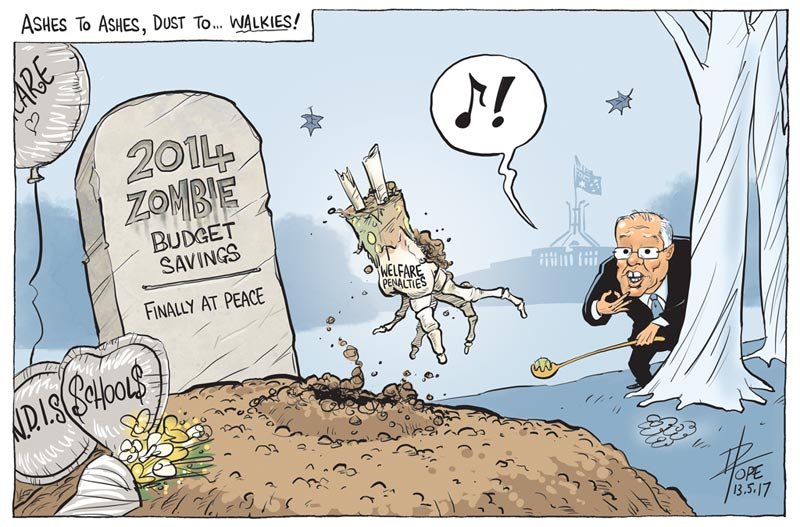 Cartoon: zombie measures from the 2014 Budget finally RIP