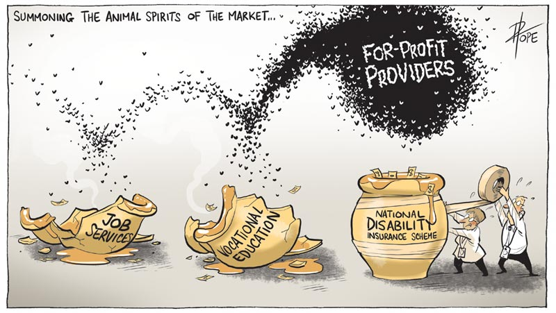 Cartoon: public services and for-profit providers
