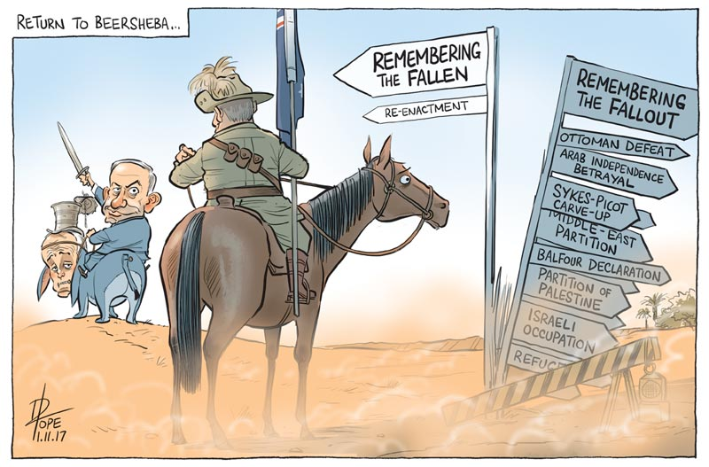 Cartoon: renactment of the lighthorse charge on Beersheba