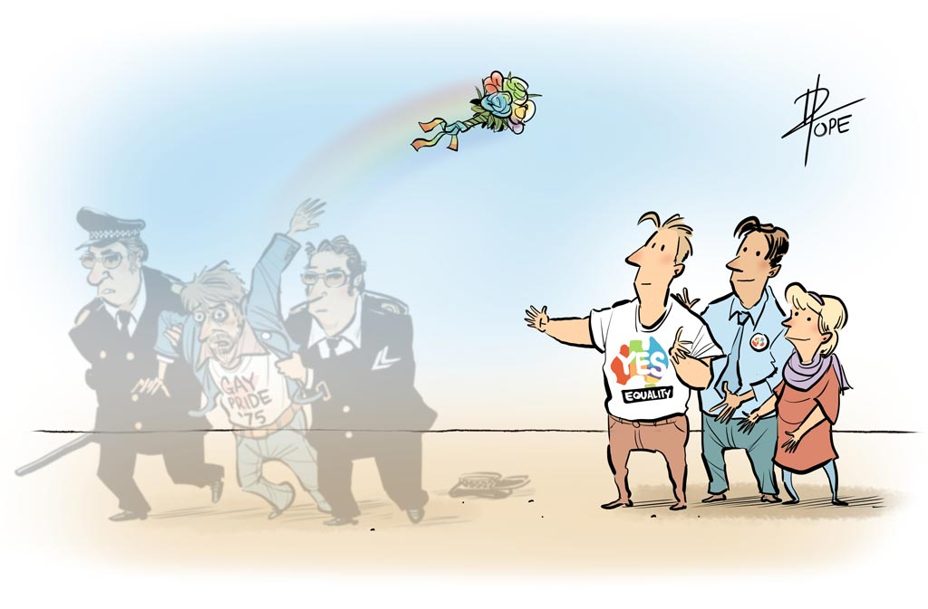 Cartoon: gay rights activists from the 1970s pass the baton