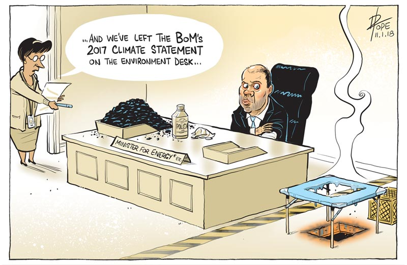 Cartoon: the environment desk at the Department of Energy