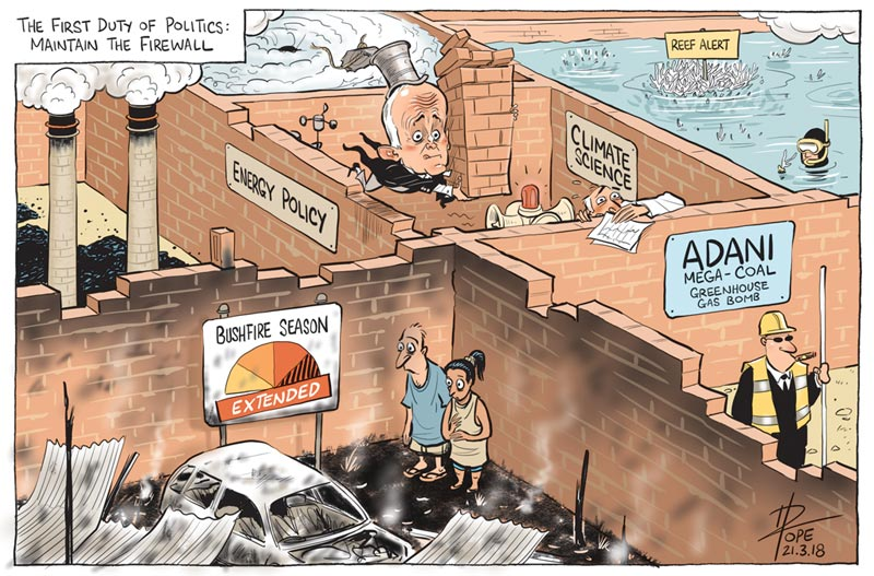 Cartoon: politics maintaining the firewall
