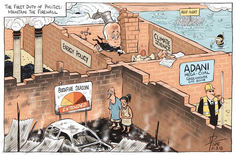 Cartoon: politics maintaining the firewall
