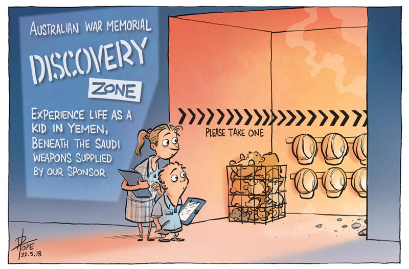 Cartoon: arms company sponsorship of the Australian War Memorial