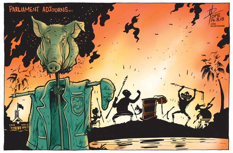 Cartoon, Lord of the Flies in the Liberal Party room