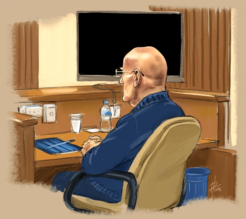 Sketch, David Eastman sitting through the retrial
