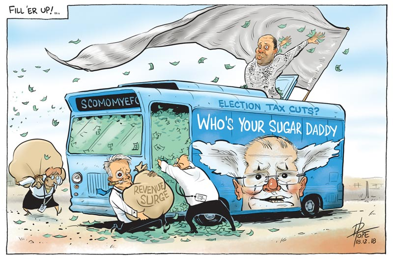 Cartoon, stuffing the campaign bus with budget cash