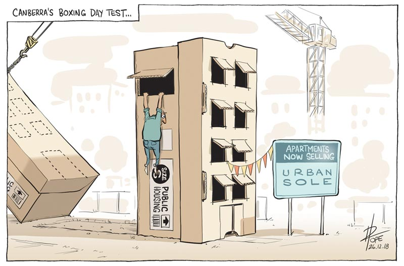 Cartoon, apartment development in Canberra