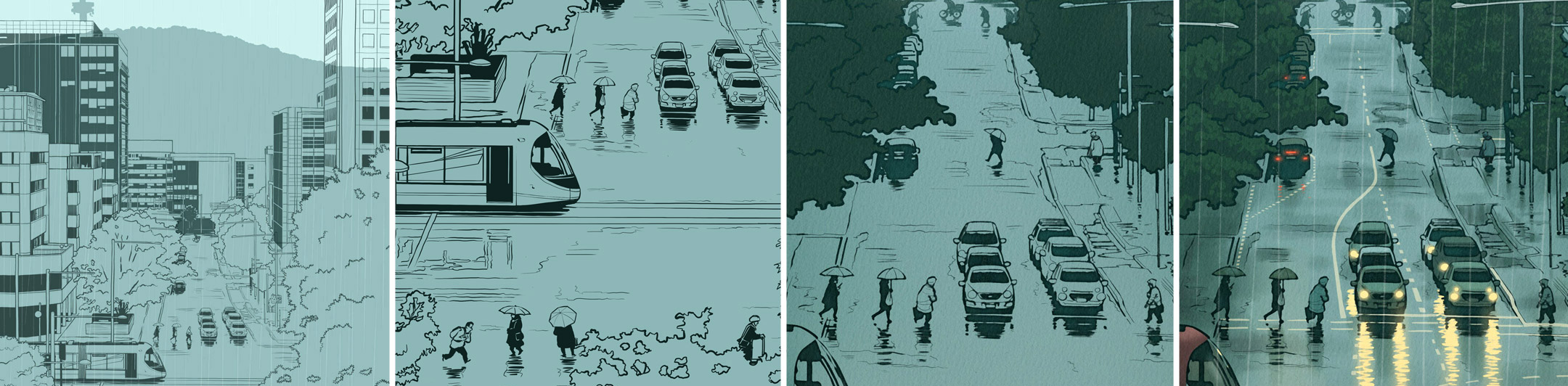 Rudd St in the rain, pics of the drawing process
