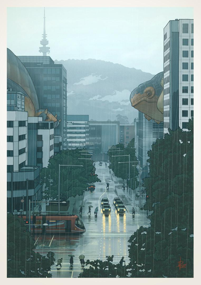 Rudd Street, Canberra, in the rain